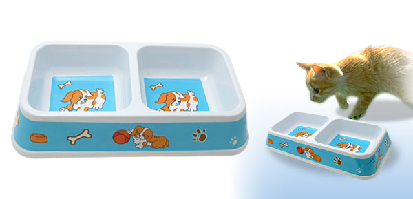 Dual Square Pet Cat Dog Bowl Feeder Food Water Dish Sky Blue