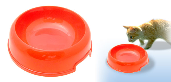 Orange Cat Dog Solid Plastic Food Feeder Dish Pet Water Bowl