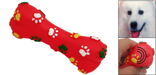 Red Vinyl Rubber Bone Pet Cat Dog Squeaky & Chew Toys