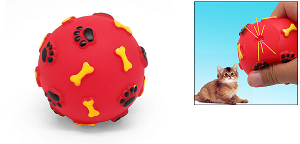 Press with Sound Red Vinyl Ball Toy for Pet Cat Dog