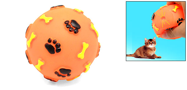 Pet Cat Dog Press with Sound Vinyl Orange Ball Toy with Paws