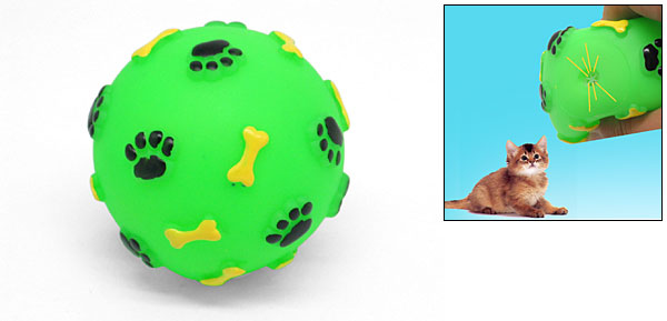 Green Vinyl Ball Toy with Footprint and Bone Design for Pet