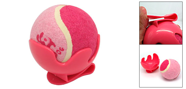 Dog Cat Pet Toy Cricket Baseball Tennis Ball Pink with Clip Bracket
