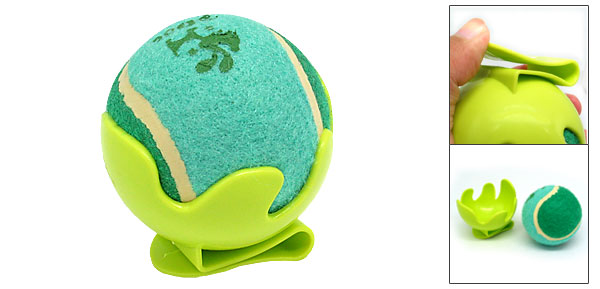 Green Toy Cricket Baseball Tennis Ball with Clip Bracket for Dog Cat Pet