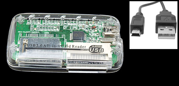 Crystal Pocket USB 2.0 All in 1 SD MMC XD CF Card Reader