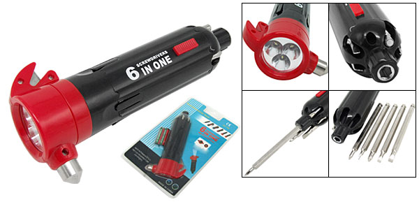 Portable 6 in 1 Ferule Slotted Phillips Multi-screwdriver LED Torch