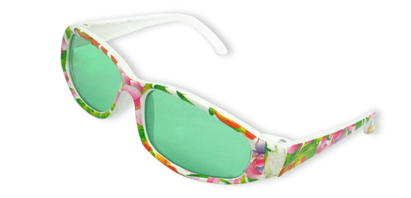 Young Children Colorful Beach Sunglasses with Green Lens