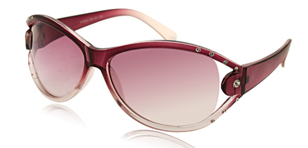 Modern Lady's Purple Frame Sunglasses with Rhinestone