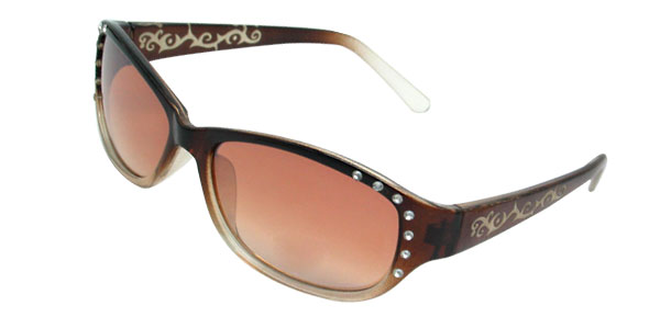 Fashion Brown Lens Frame Ladies' Sunglasses with Rhinestone
