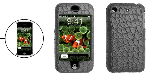Black Snakeskin Leather Hard Plastic Case for Apple iPhone 1st Generation