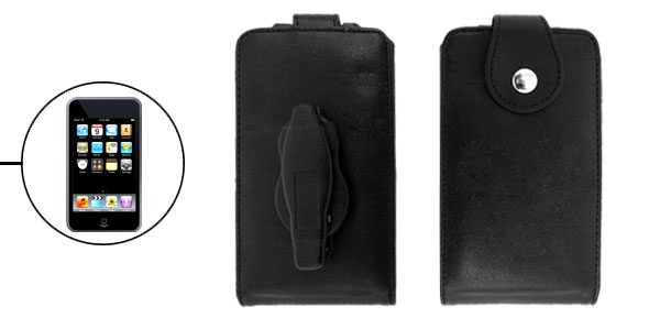 Black Leather Clip Design Protector Case for iPod Touch 1st Generation 1G 1st Generation