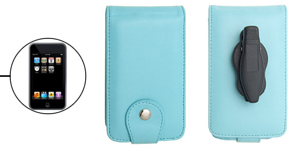 Baby Blue Stylish Leather Flip Case for iPod Touch with Clip 1st Generation
