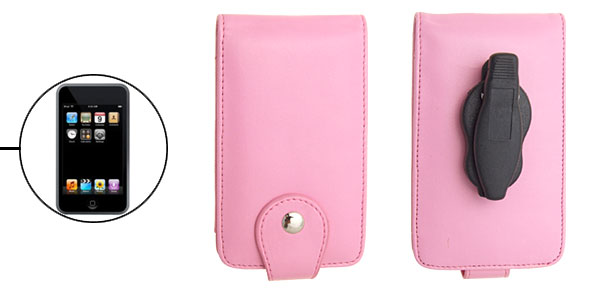 Stylish Pink Leather Flip Case for iPod Touch with Clip 1st Generation