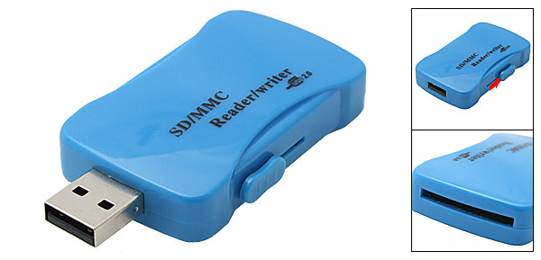 USB 2.0 Mini Memory Card Reader Writer Blue for SD MMC