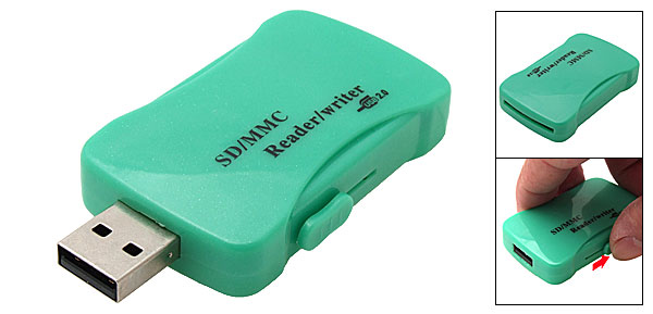 Mini USB 2.0 SD MMC Memory Card Reader Writer Green