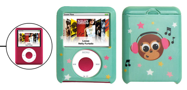 Green Plastic Case with Star Design for iPod Nano 3G