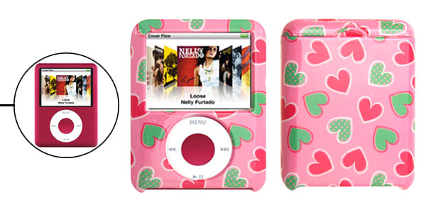 Pink Plastic Case with Heart Design for iPod Nano 3G