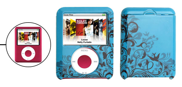 Blue Plastic Case with Flower Design for iPod Nano 3rd Generation 3G