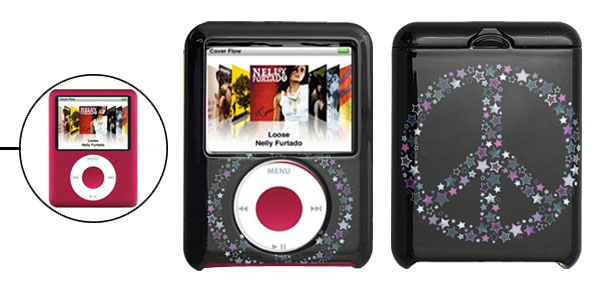 Black Plastic Case with Star Design for iPod Nano 3G