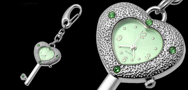 Fashion Jewelry Heart Pendant Key Chain Quartz Clock Watch
