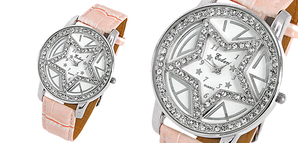 Pink Leather Band Watch Star Design Dial with Rhinestone