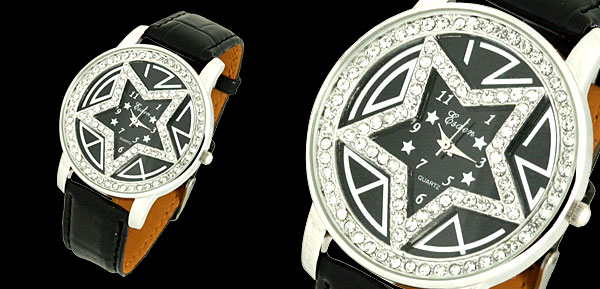 Star Ladies Rhinestone Wrist Watch with Black Leather Strap