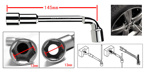 13mm Hex Socket Double End Thread Tubular Angled Wrench