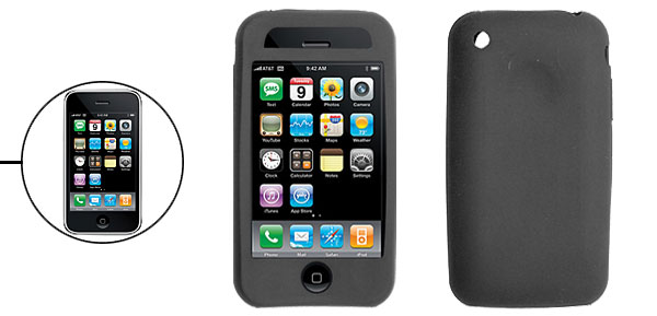 Protective Silicone Skin Case Cover for Apple iPhone 3G Black