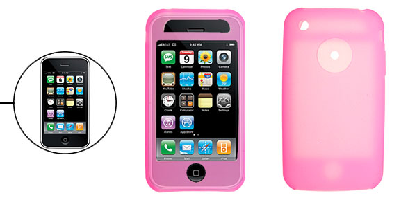 Smooth Silicone Skin Case Cover for Apple iPhone 3G Pink