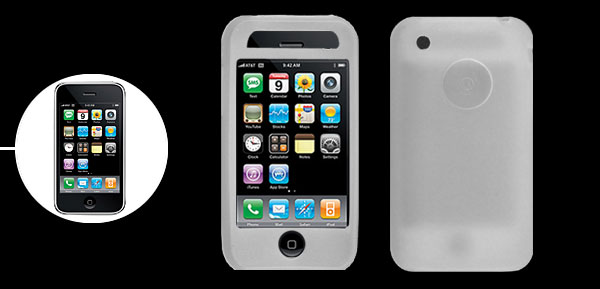 Stylish Protective Silicone Skin Case Cover for Apple iPhone 3G Clear White