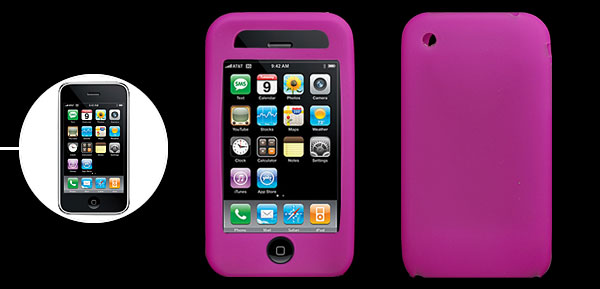 Stylish Protector Silicone Skin Case Cover for Apple iPhone 3G Purple Pink