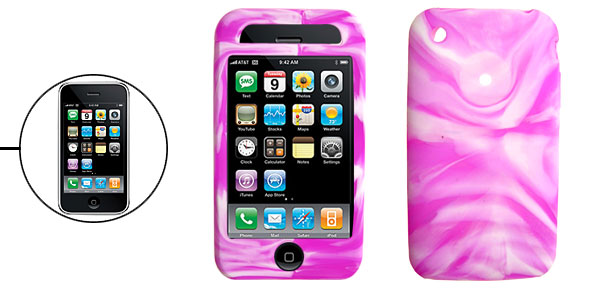 Novelty Swirly Protective Silicone Skin Case Cover for Apple iPhone 3G Purple