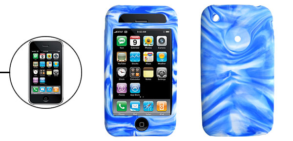 Unique Silicone Skin Protective Case Cover for Apple iPhone 3G Blue Swirly