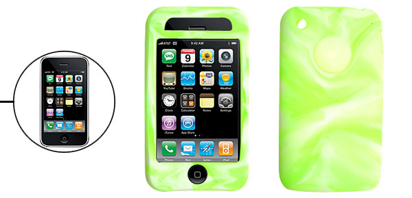 Unique Swirly Silicone Skin Protective Case Cover for Apple iPhone 3G Green