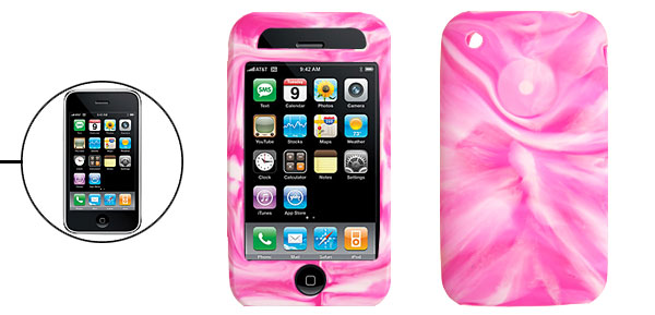Purple Pink Swirly Protector Silicone Skin Case Cover for Apple iPhone 3G