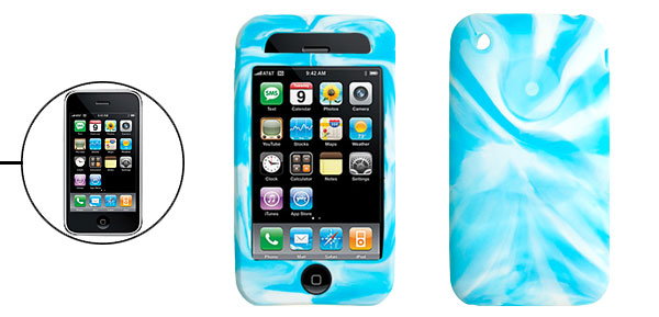 Light Blue Swirly Silicone Skin Protector Case Cover for Apple iPhone 3G