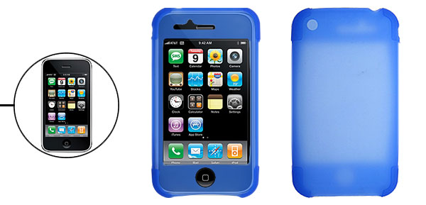 Protective Silicone Skin Case Cover for Apple iPhone 3G Blue