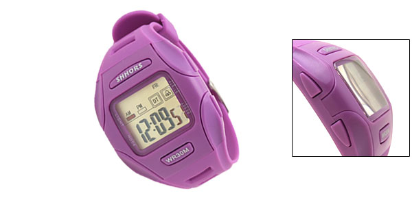 Digital LCD Purple Plastic Wrist Sports Alarm Quartz Watches