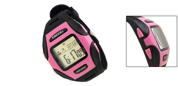Digital LCD Black Rim Pink Plastic Wrist Sports Alarm Quartz Watches