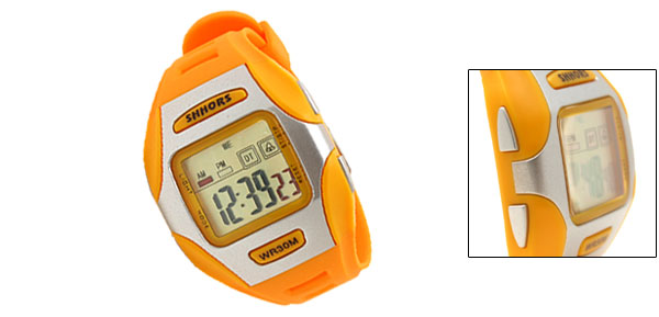 Yellow Digital LCD Plastic Wrist Sports Alarm Quartz Watches