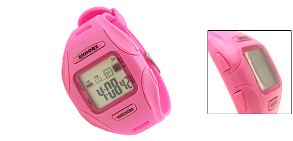 Digital LCD Pink Plastic Wrist Sports Alarm Quartz Watches