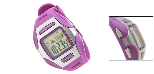 Digital LCD Purple Rim Silvery Plastic Wrist Sports Alarm Quartz Watches