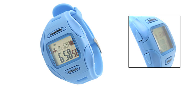 Blue Digital LCD Plastic Wrist Sports Alarm Quartz Watches