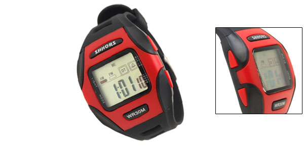 Digital LCD Black Rim Red Plastic Wrist Sports Alarm Quartz Watches
