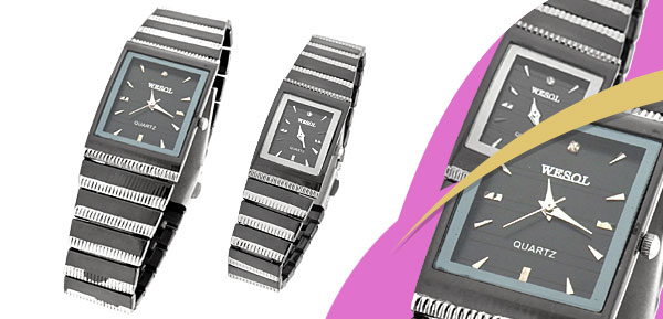 Fashion Metal Band Rectangle His and Her Pair Couple Wrist Watches Black