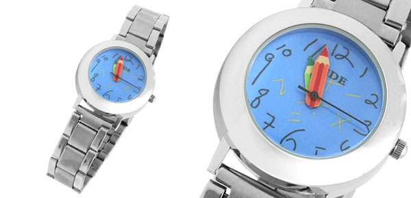 Blue Cute Round Dial Watchcase Girl Lady Metal Band Quartz Watch