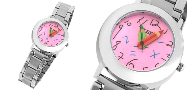 Cute Round Pink Dial Watchcase Metal Band Girl Lady Quartz Watch