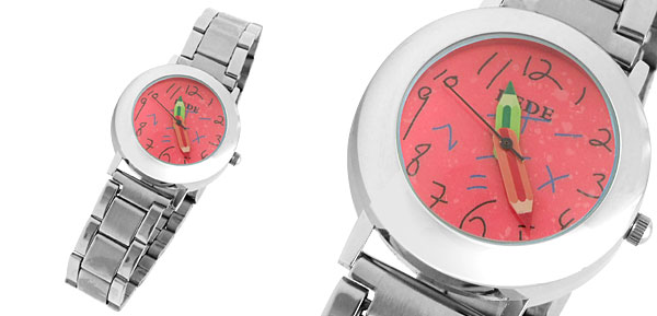 Cute Red Round Dial Watchcase Metal Band Girl Lady Quartz Watch