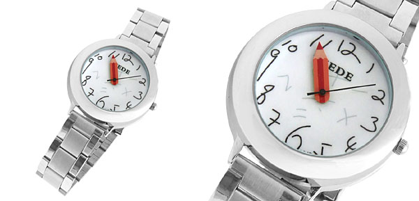Pencil Hand White Dial Watchcase Metal Band Quartz Watch