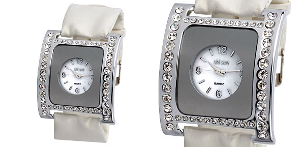White Soft Ribbon Leather Fashion Rhinestone Ladies Watch